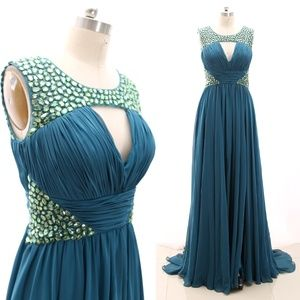 Teal Prom Gown Formal Evening Dress with Slit